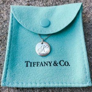 """Tiffany & Co. """"K"""" Alphabet Disc Charm w/ Chain"""